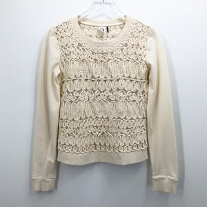 Akemi + Kin Ivory Sequin and Coiled Pullover